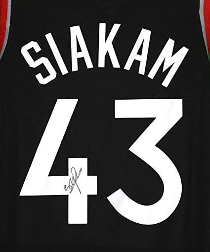2fb0ab3f8 Image Unavailable. Image not available for. Color  Pascal Siakam Toronto  Raptors Signed Autographed Black  43 Custom Jersey