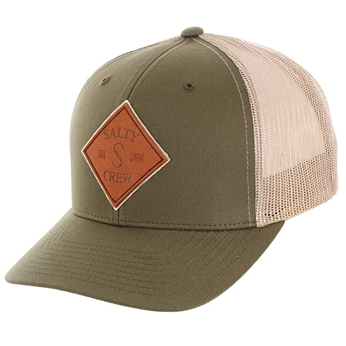 new concept 7043d 1b276 ... discount salty crew mens tippet leather retro trucker hat moss khaki  one size 2a44a 5c6f1