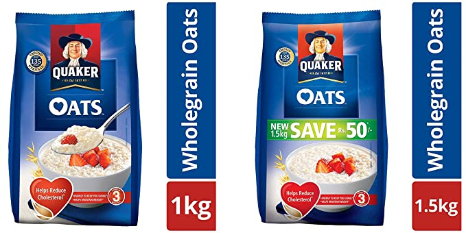 Quaker Oats Pouch, 1kg and Quaker Oats, 1.5kg Pack: Amazon.in