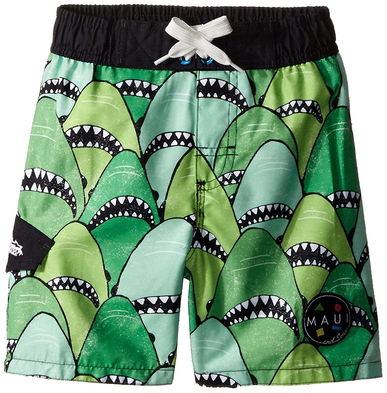 Maui & Sons Boys' Green Swim Trunk With Shark Print Dreamwave Children' s Apparel 304MZ