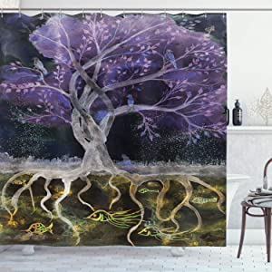 Ambesonne Tree of Life Shower Curtain, Psychedelic Mysterious Tree at Night with Birds and Fishes Home Art, Cloth Fabric Bathroom Decor Set with Hooks, 75