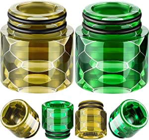 810 Resin Drip Tips Replacement Honeycomb Standard Drip Tip Resin Drip Tip Connector Cover for Ice Maker Coffee Machine(Yellow, Green, 2 Pieces)