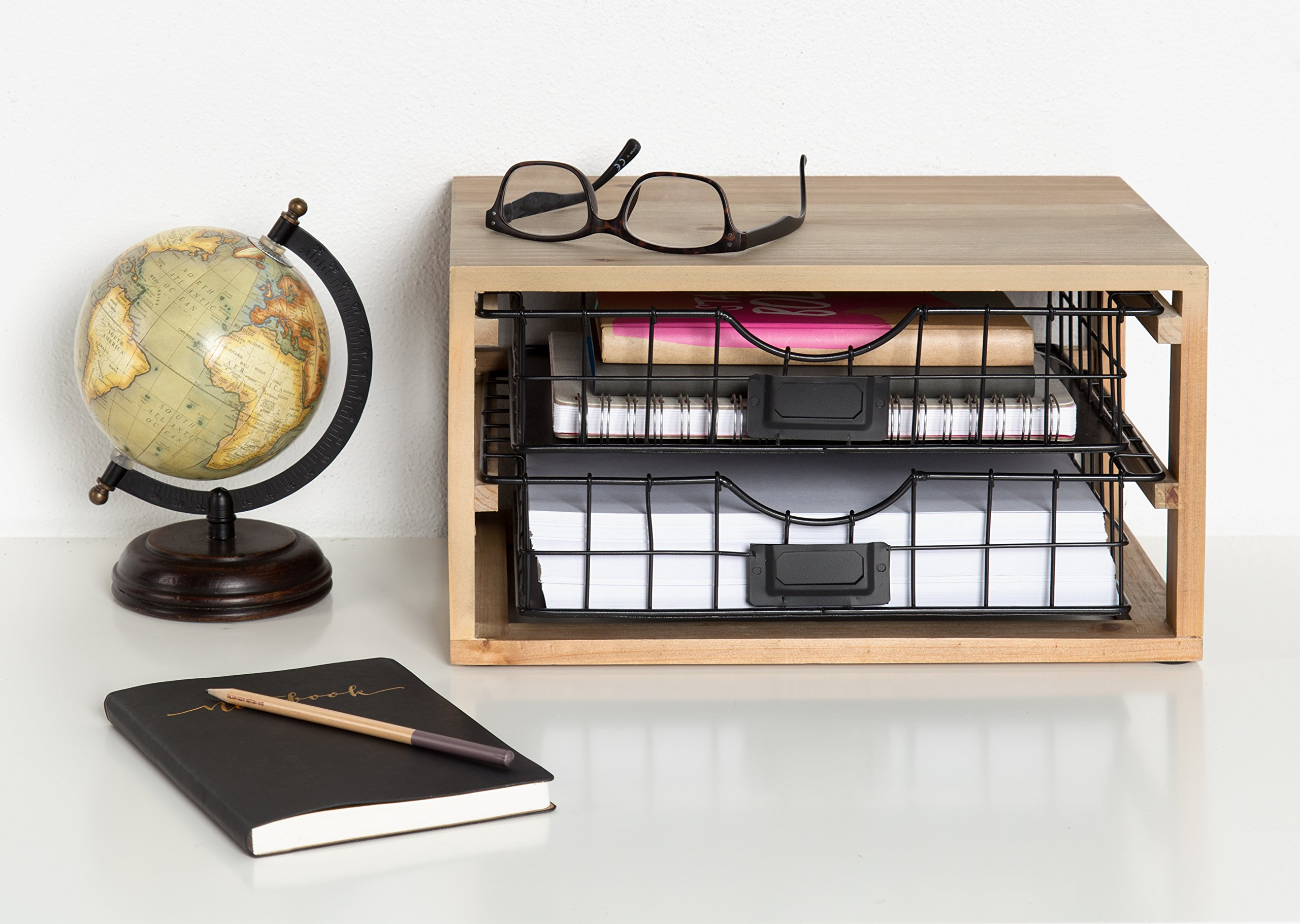 Kate and Laurel Tanner Rustic Wood and Metal Desktop Drawer Organizer Letter Tray by Kate and Laurel (Image #6)
