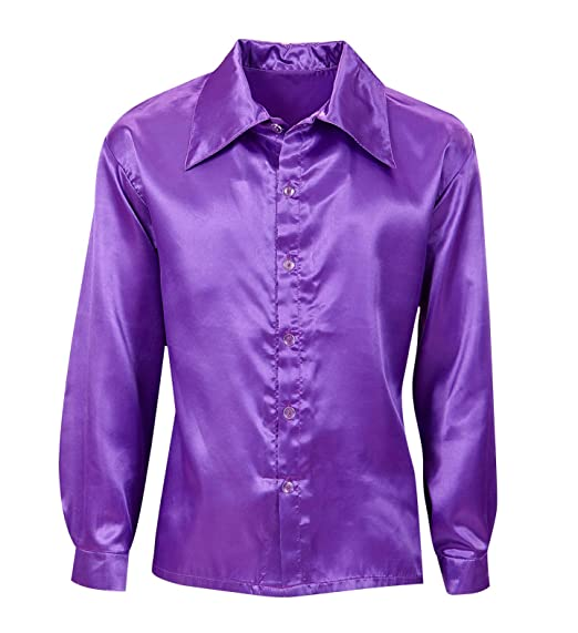 1960s Inspired Fashion: Recreate the Look Satin 70s Disco Shirt Costume For Seventies 70s Disco Retro Fancy Dress Up $23.48 AT vintagedancer.com