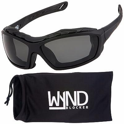 WYND Blocker Polarized Riding Sunglasses Extreme Sports Wrap Motorcycle Glasses (Black/PZ Smoke): Clothing [5Bkhe0902310]