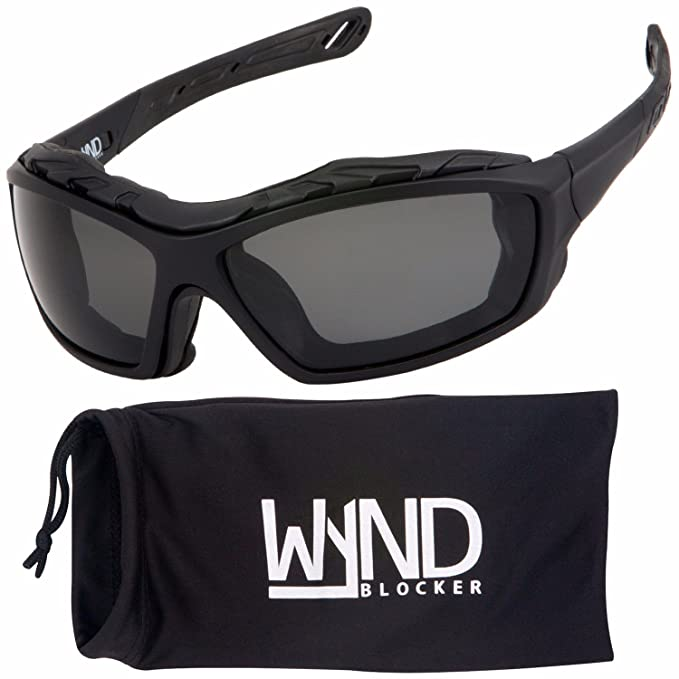 eec88f3e708 WYND Blocker Polarized Riding Sunglasses Extreme Sports Wrap Motorcycle  Glasses (Black PZ Smoke)