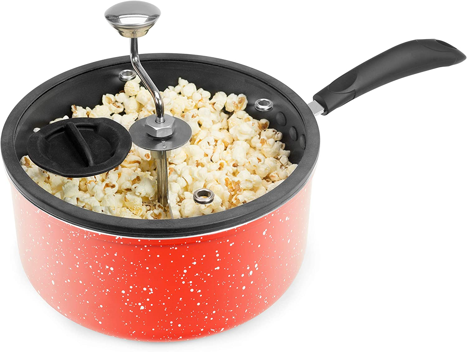Zippy Pop Red Marble Stovetop Popcorn Popper, 5-1/2-Quart, NEW 2020 Model, Glass Lid with Silicone Rim, Dishwasher Safe, Easily Make Classic or Flavored Popcorn, Recipes Included