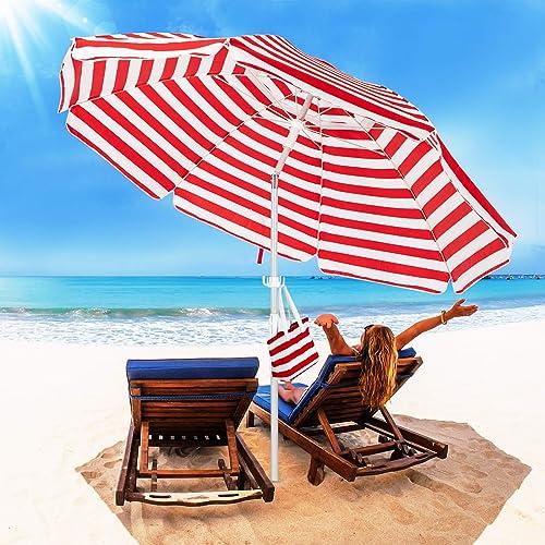 ROWHY 7.5FT Beach Umbrella Outdoor Portable UV 50 Sunshade Umbrella