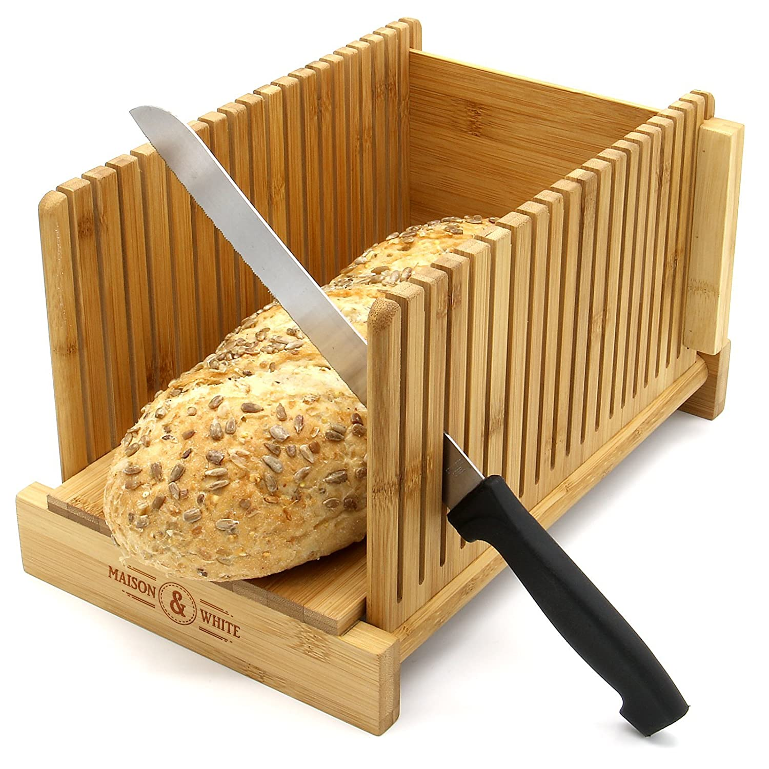 Bamboo Bread Slicer | Loaf Cutting Board & Knife Slicing Guide | Adjustable, Foldable, Compact | Suitable For Homemade or Bought Bread Cakes & Loaves | M&W Xbite