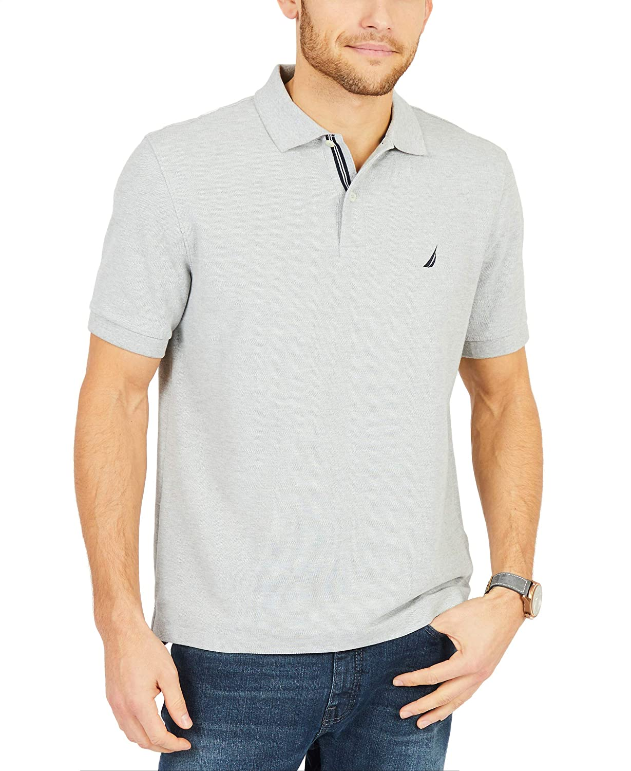 gris (gris Heather 0gh) L Nautica Solid ancre Deck Classic Fit, Polo Homme