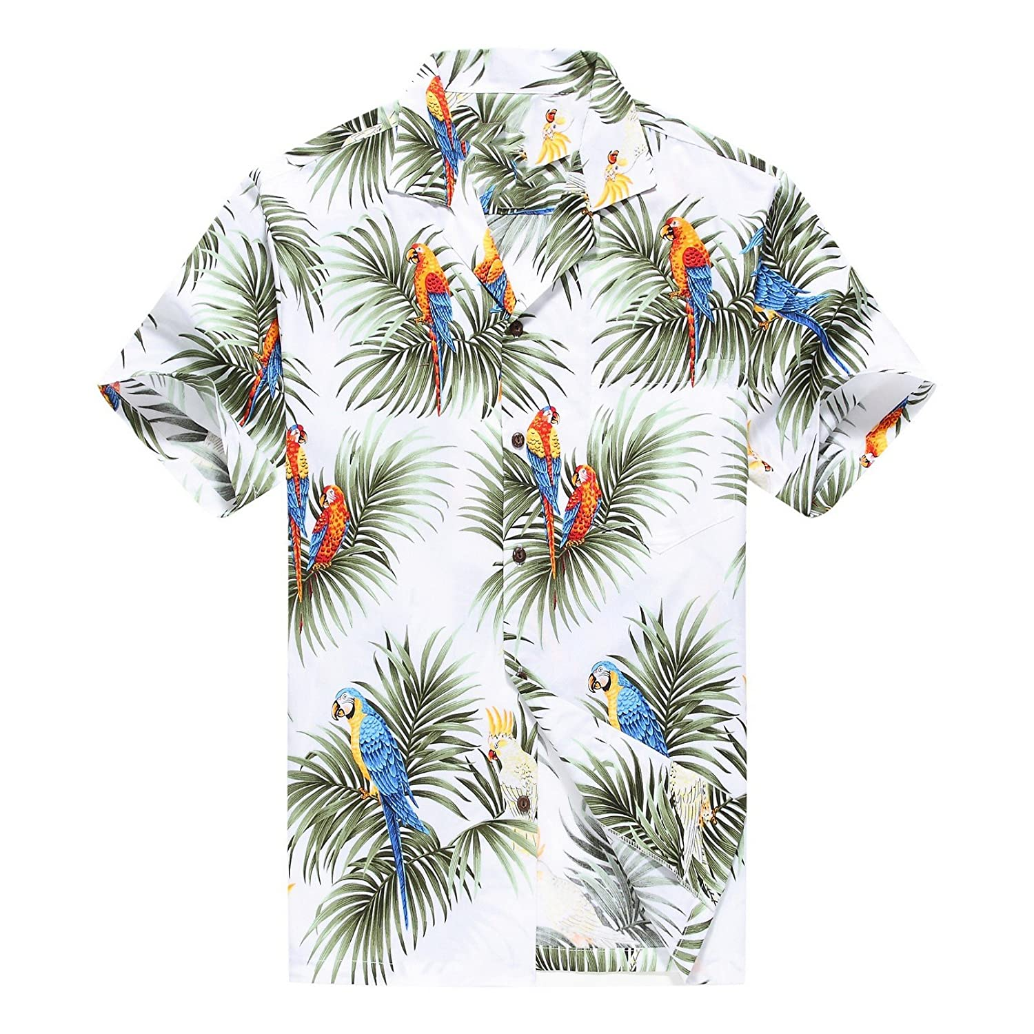Made in Hawaii Herrenhemd Hawaii Aloha Hemd Papageien und
