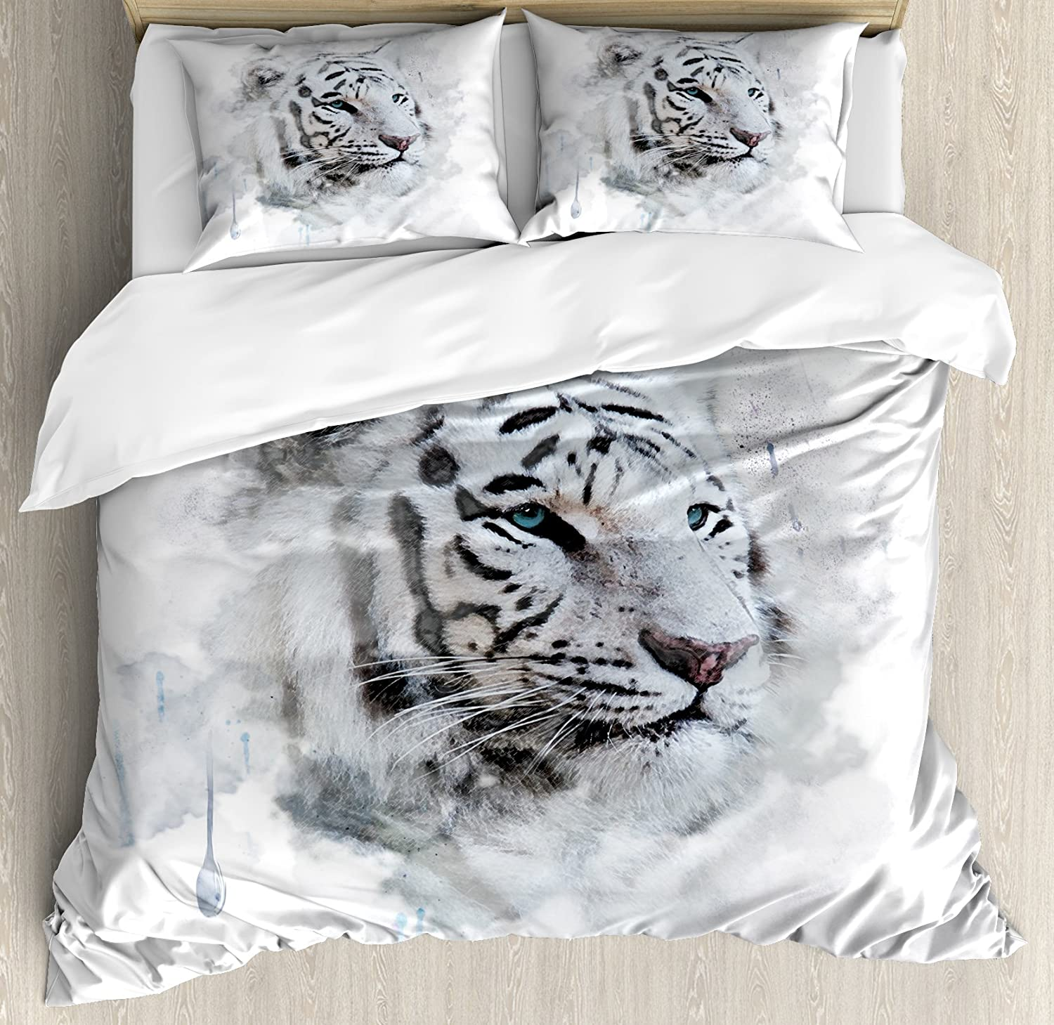 Ambesonne Animal Duvet Cover Set, Portrait of a White Tiger Wild Nature Predator Watercolor Splashes, Decorative 3 Piece Bedding Set with 2 Pillow Shams, Queen Size, White Black