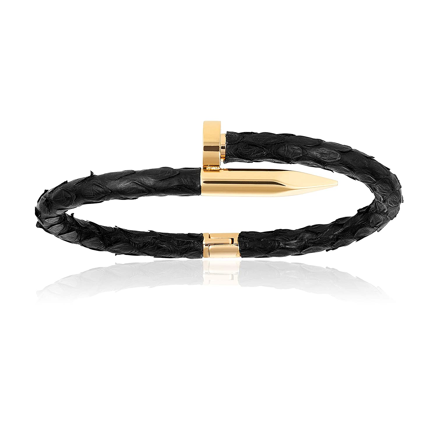 fe7c3247d21 Amazon.com: Double Bone Black Genuine Python Leather Bracelet with Yellow  Gold Nail Unisex (17): Jewelry