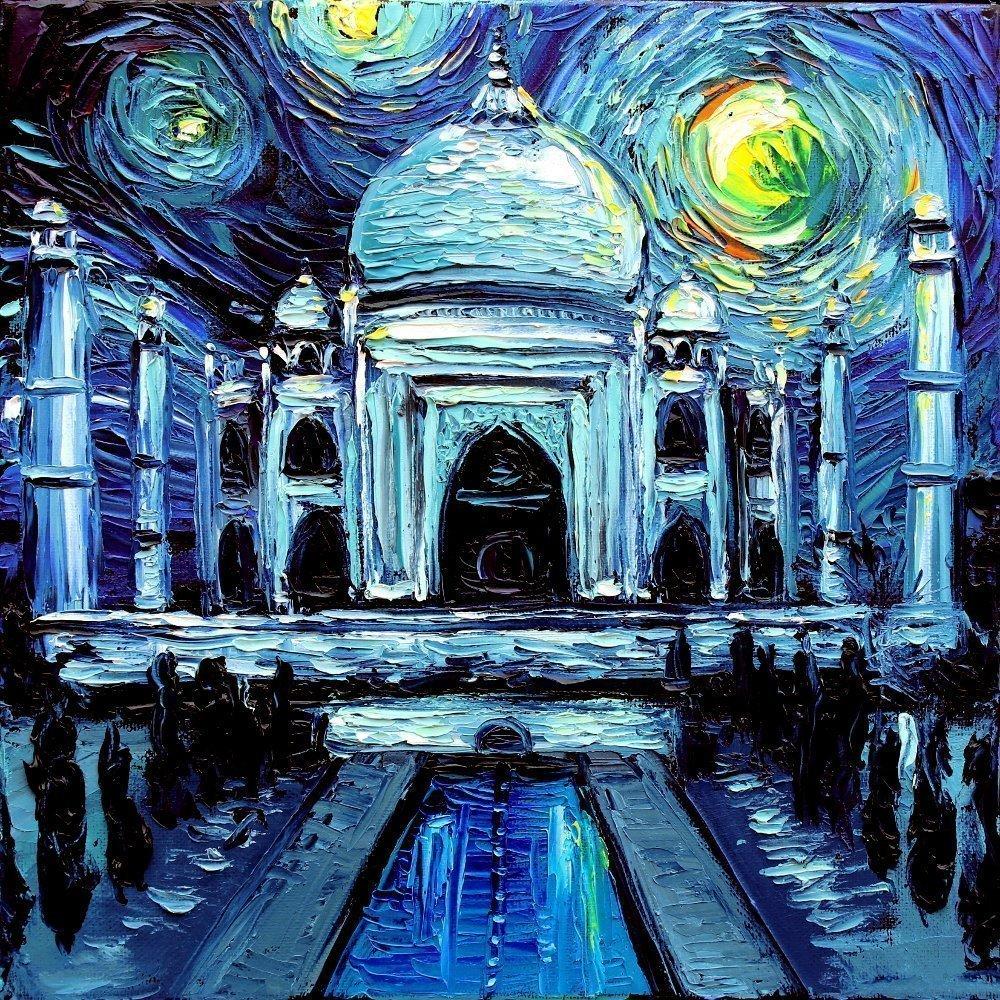 Taj Mahal Art PRINT - Starry Night India - van Gogh Never Saw The Taj Mahal - Art by Aja 8x8, 10x10, 12x12, 20x20, 24x24 inch sizes, choose