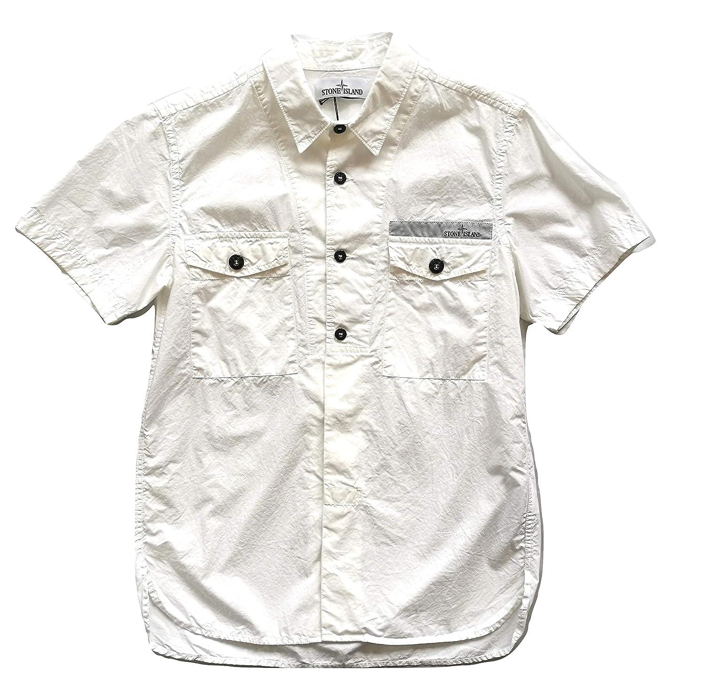 Stone Island - Camisa casual - para hombre Bianco Small: Amazon.es ...