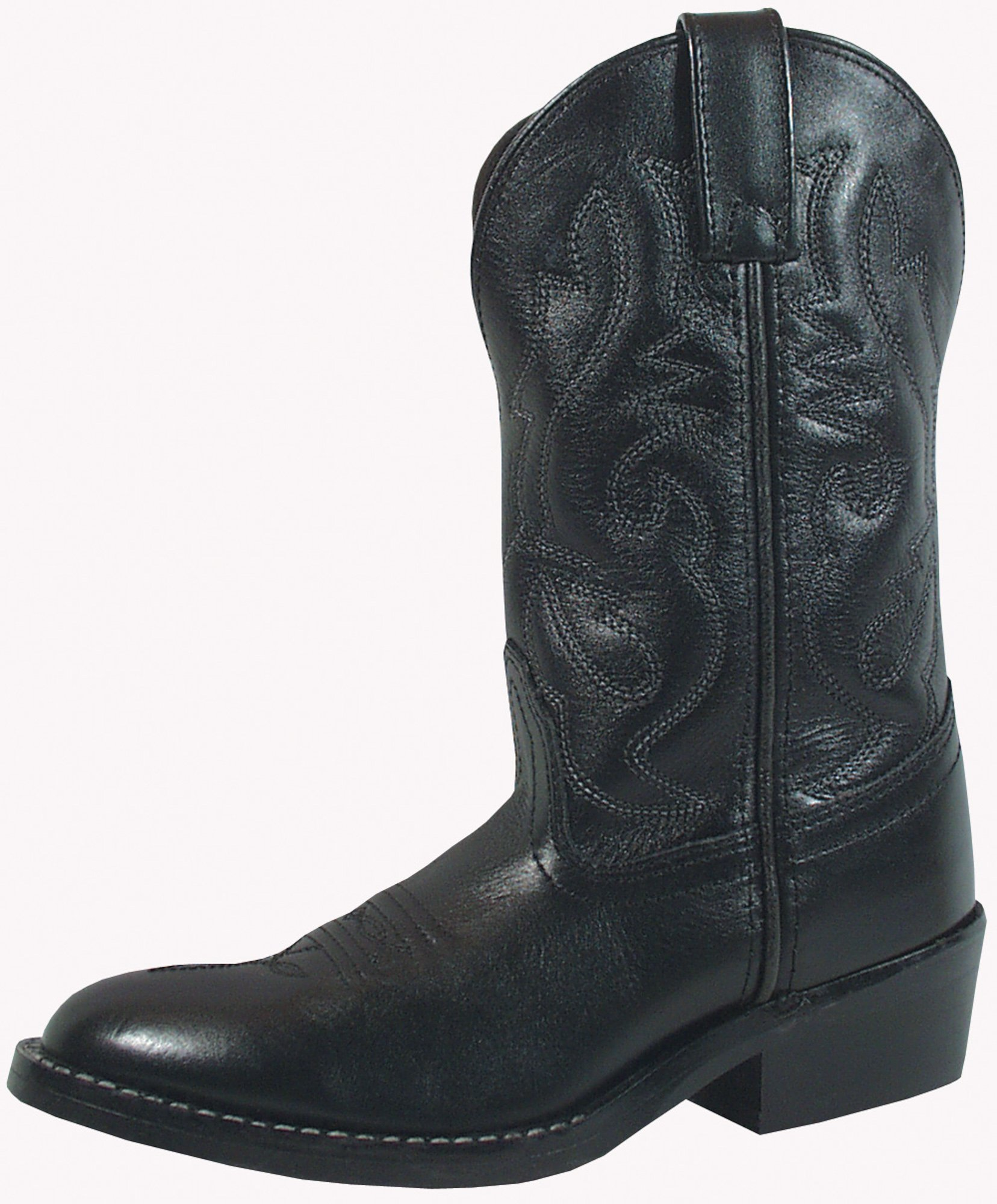 Smoky Children's Kid's Black Leather Western Cowboy Boot