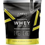 Amazon Brand- Amfit Nutrition - Advanced Whey Protein Powder Banana Milkshake, 64 Servings, 1984g