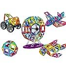 dreambuilderToy 106 PCS Magnetic Tiles Set, STEM Building Block Preschool Educational Construction Kit,3D Magnetic Toys (106 Pieces)