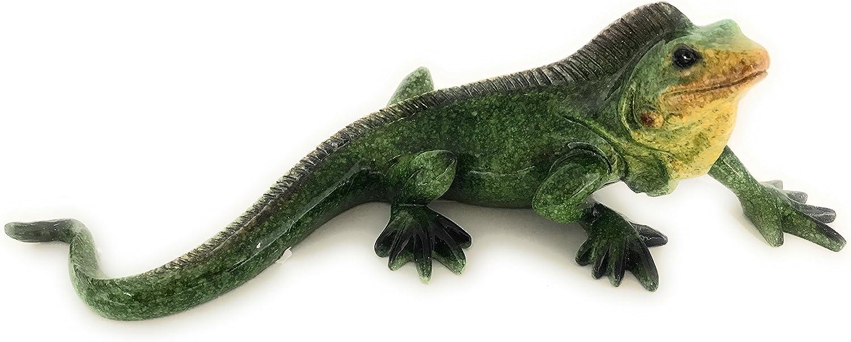 Green Tree Resin Iguana Figurine, Indoor Outdoor Decor, 9.5 Inches Long