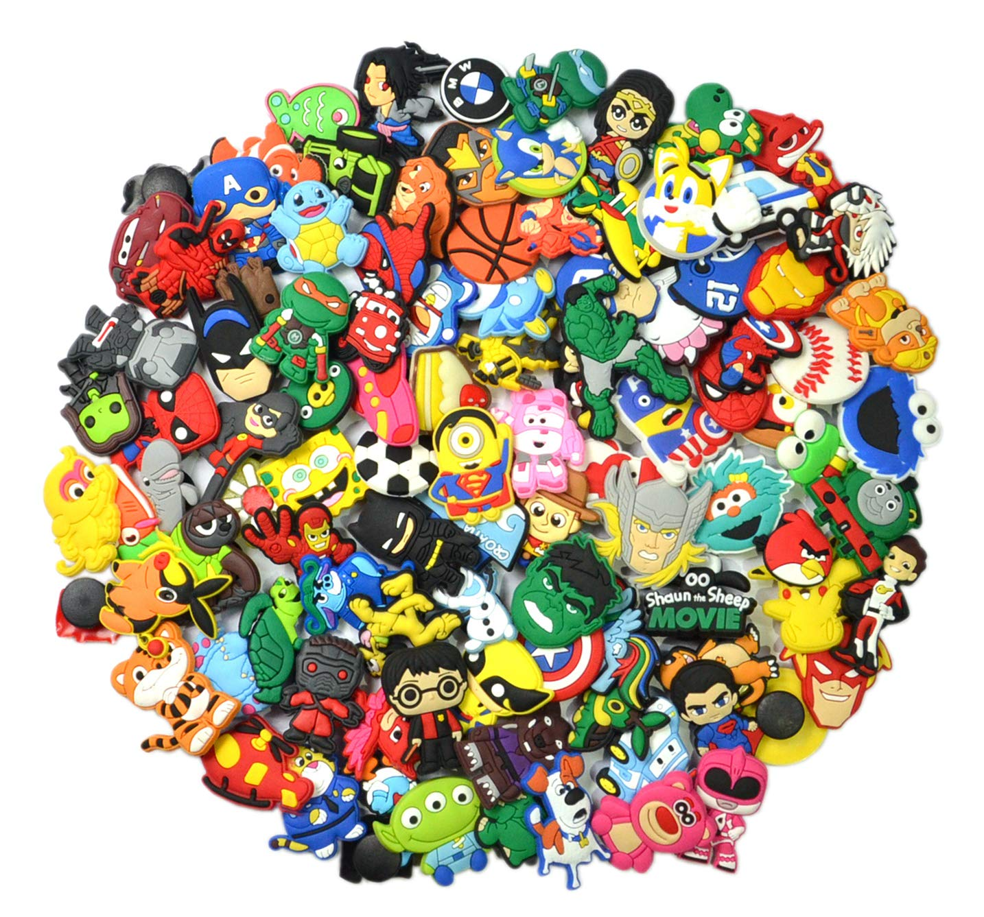 Lot of 100 PVC Different Shoe Charms for Croc & Jibbitz Bands Bracelet Wristband for Boys