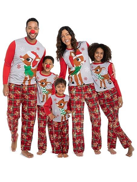 Family Christmas Pajamas With Baby.Rudolph The Red Nosed Reindeer Christmas Holiday Family Sleepwear Pajamas Dad Mom Kid Baby