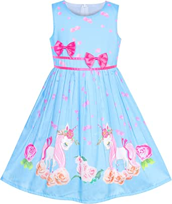 Sunny Fashion Girls Dress Purple Rose Flower Double Bow Tie Party Kids Sundress
