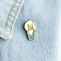 Yesiidor Creative Lamp Bulb And Sea Wave Design Enamel Brooch Pin Fashion Lovely Funny Clothes Bags