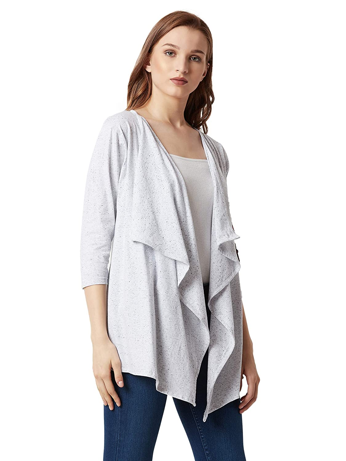 b391f1a903c Miss Chase Women's Grey Cotton Asymmetrical Floral Shrug: Amazon.in:  Clothing & Accessories