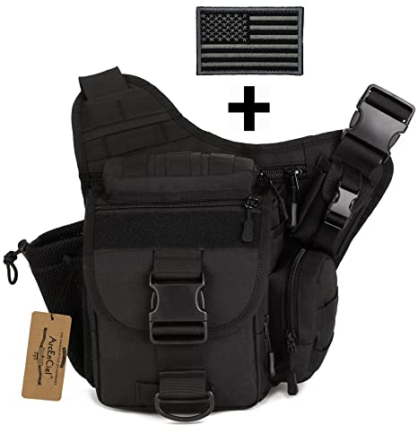 Amazon.com   ArcEnCiel Tactical Camera Messenger Bag Military Shoulder  Backpack EDC Sling Pack for Hiking Camping Trekking Motorcycling with Patch  (Black) ...