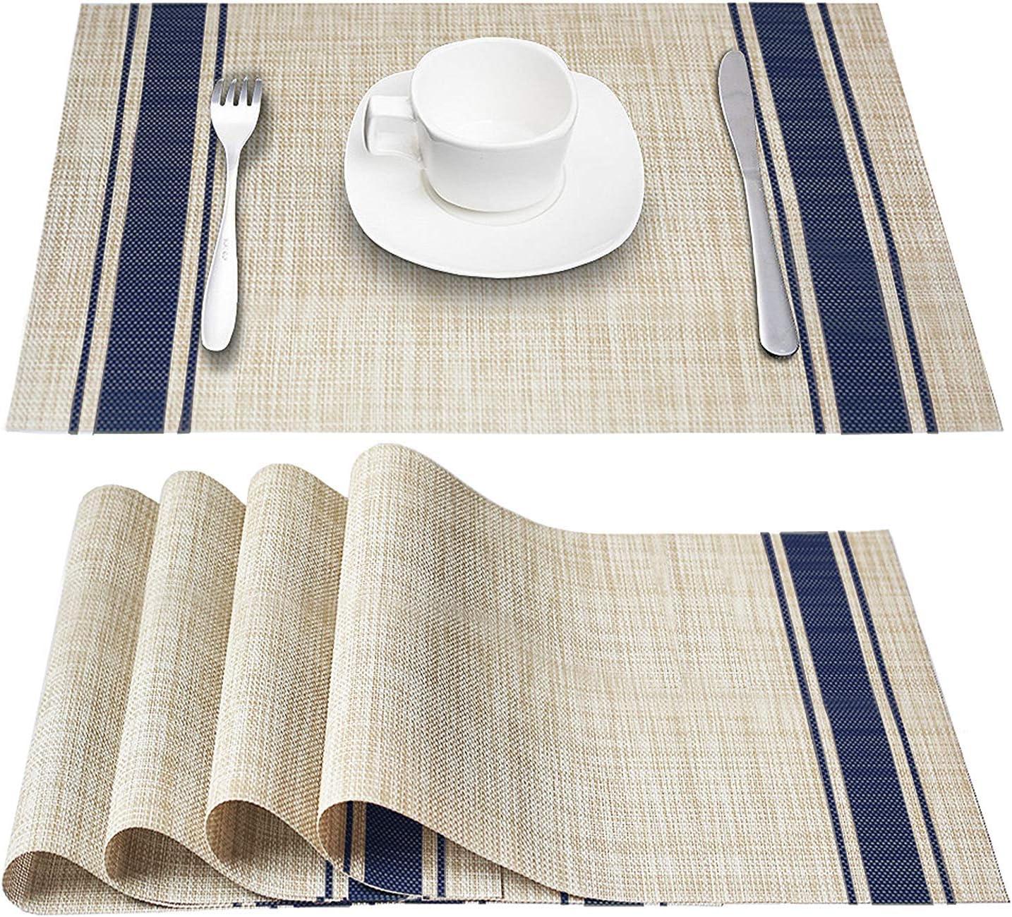 DACHUI Placemats, Heat-Resistant Placemats Stain Resistant Anti-Skid Washable PVC Table Mats Woven Vinyl Placemats, Set of 6 (Blue)