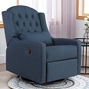 ALPHA HOME Recliner Chair Living Room Chair Ergonomic Glider Chair Rocking Reclining Sofa for Elderly Back Pain Fabric Upholstered Lounge Adjustable Club Home Theater Seat with 4 Positions (Blue)
