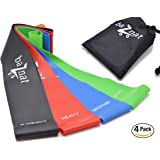 """baZnat Resistance Loop Bands - 12"""" Exercise Straps (4 pack) & Carry bag - Workout Stretch Bands - a Must Fitness Equipment for Yoga, PT, HIIT and Home Training - Best Kit for Legs and Butt"""