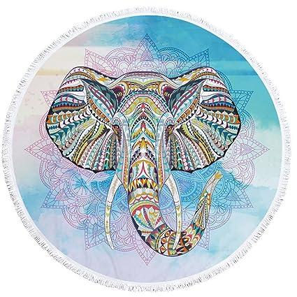 PYHQ Arte Elefante Círculo Toalla de playa Tapa de algodón de borla Wall colgar tapices Manta