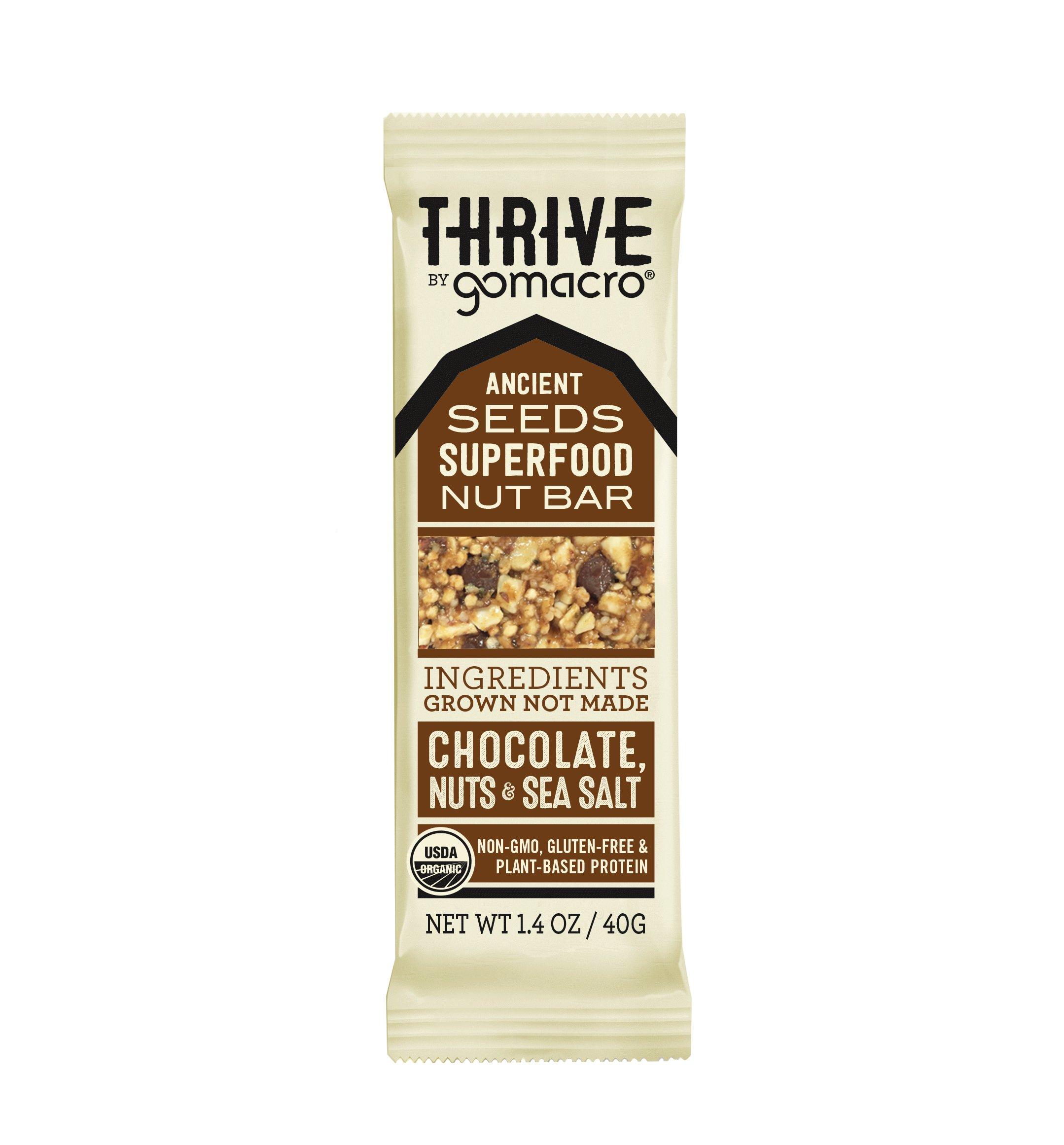 GoMacro Thrive Bar, Organic Vegan Bar, Chocolate Nuts + Sea Salt, 1.4 oz, (Pack of 6)
