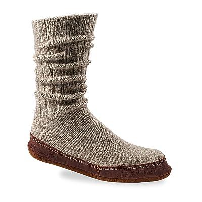 Easy Spirit Unisex Slipper Sock, Light Grey Ragg Wool, X-Large(10.5-11.5 Men's) B US | Slippers