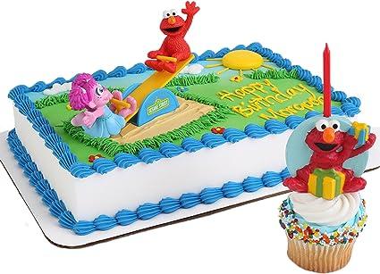 Wondrous Amazon Com Sesame Street Cake Topper And Elmo Candle Toys Games Funny Birthday Cards Online Necthendildamsfinfo