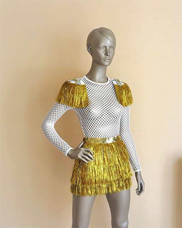 Burning Man Bodysuit White Holographic Unicorn Music Festival Outfit Removable Fringe Shoulder Pads  Rave Dress White leotard