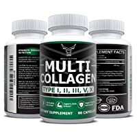 OXNUTRITION Multi Collagen Peptide Pills 90 Capsules | Type I, II, III, V, X | Premium Hydrolyzed Collagen Protein Complex Supplement for Anti-Aging, Healthy Joints, Hair, Skin, Nails| Keto & Paleo