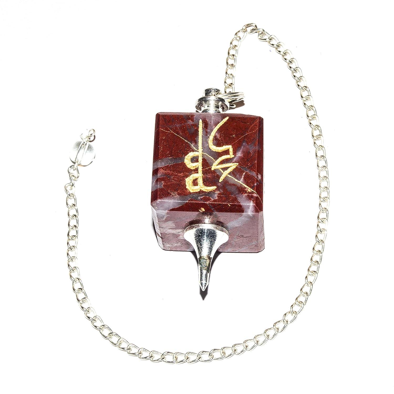 Amazon Crocon Red Jasper Engraved Reiki Symbol Cube Pendulum