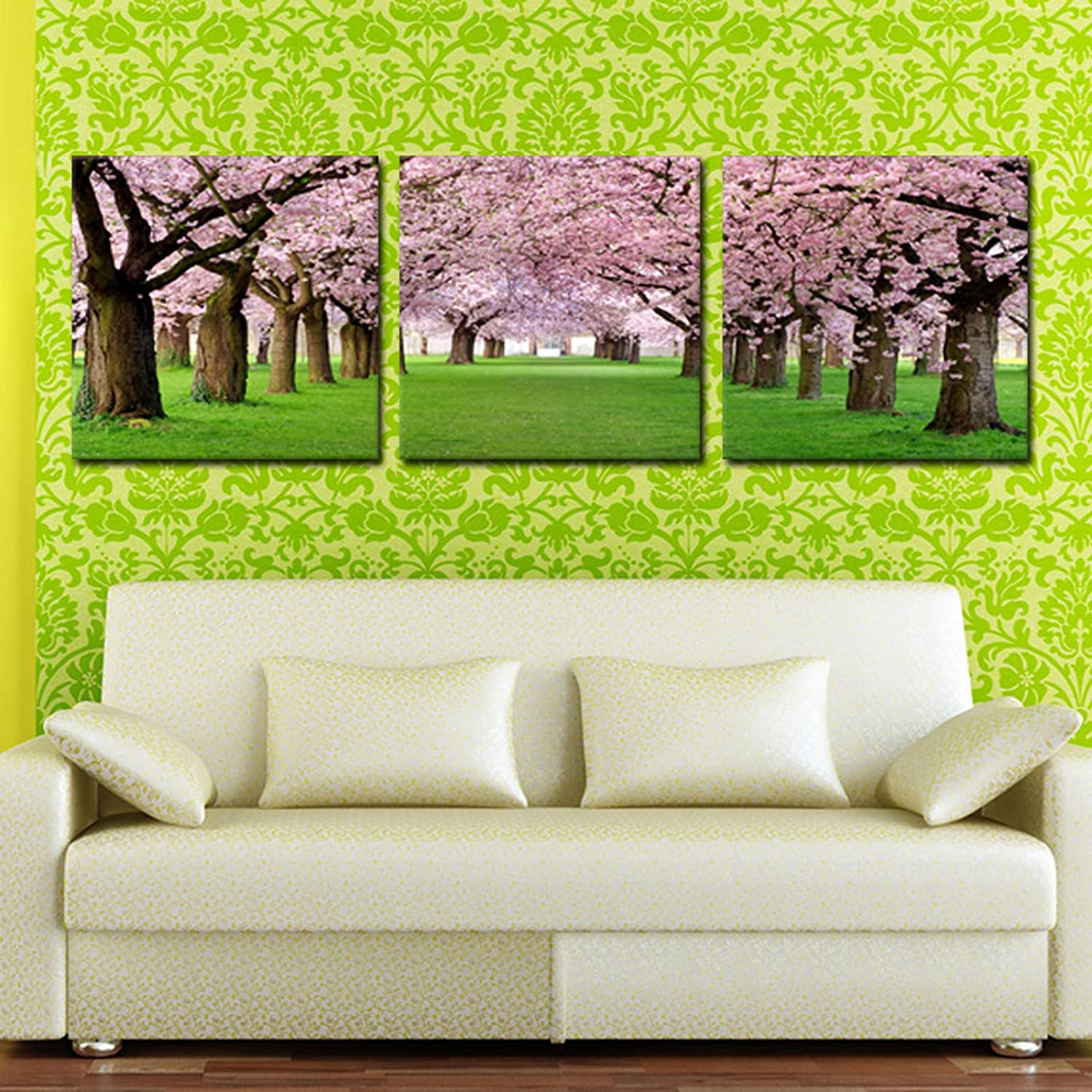 Cherry Blossom ready to hang 3 Panel picture mounted on MDF//Improved canvas arts