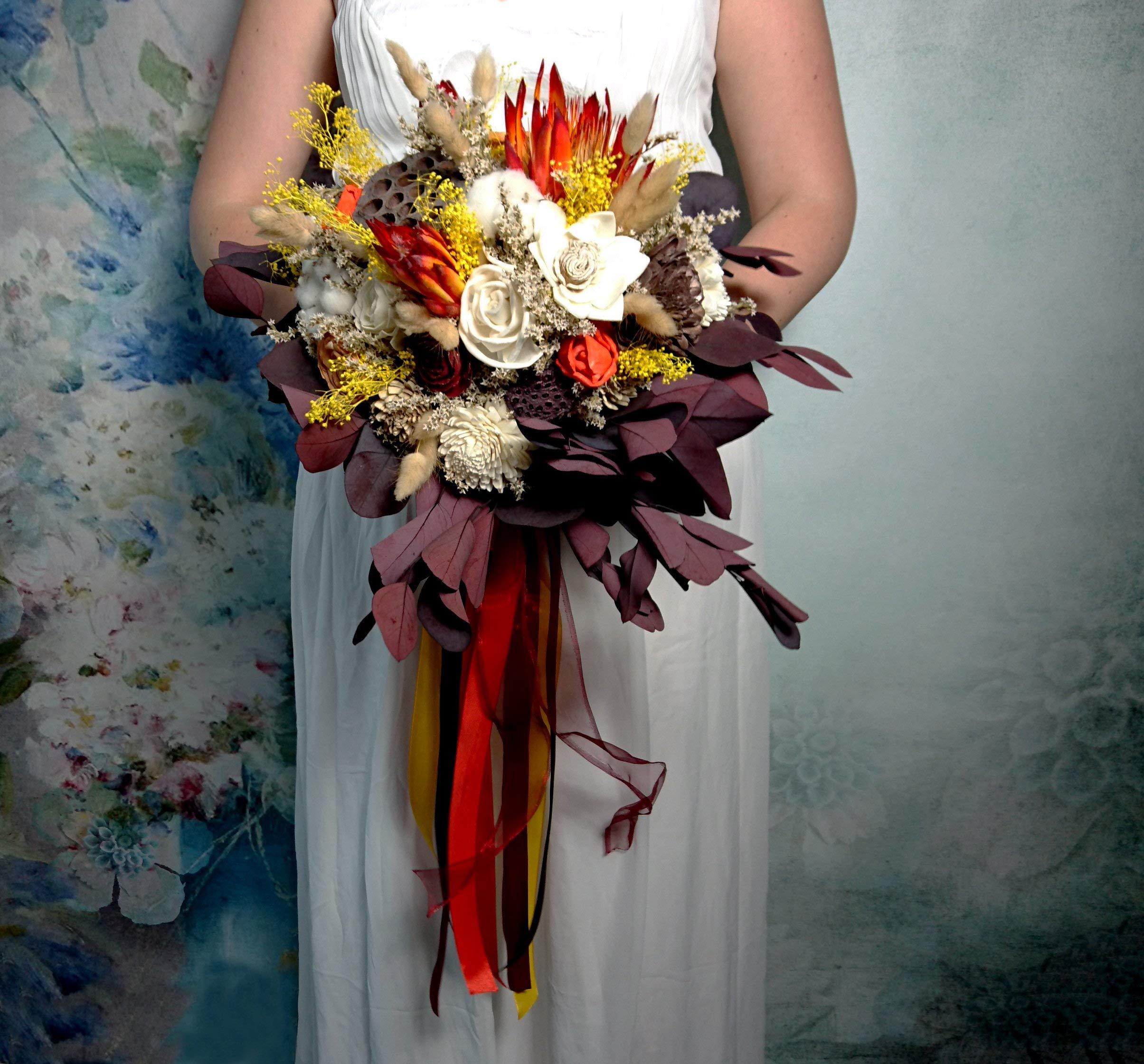 Big Autumn Colors Bouquet Dried Flowers Rustic Orange Yellow Burgundy Eucalyptus Boho Wedding Silk Flower Arrangements