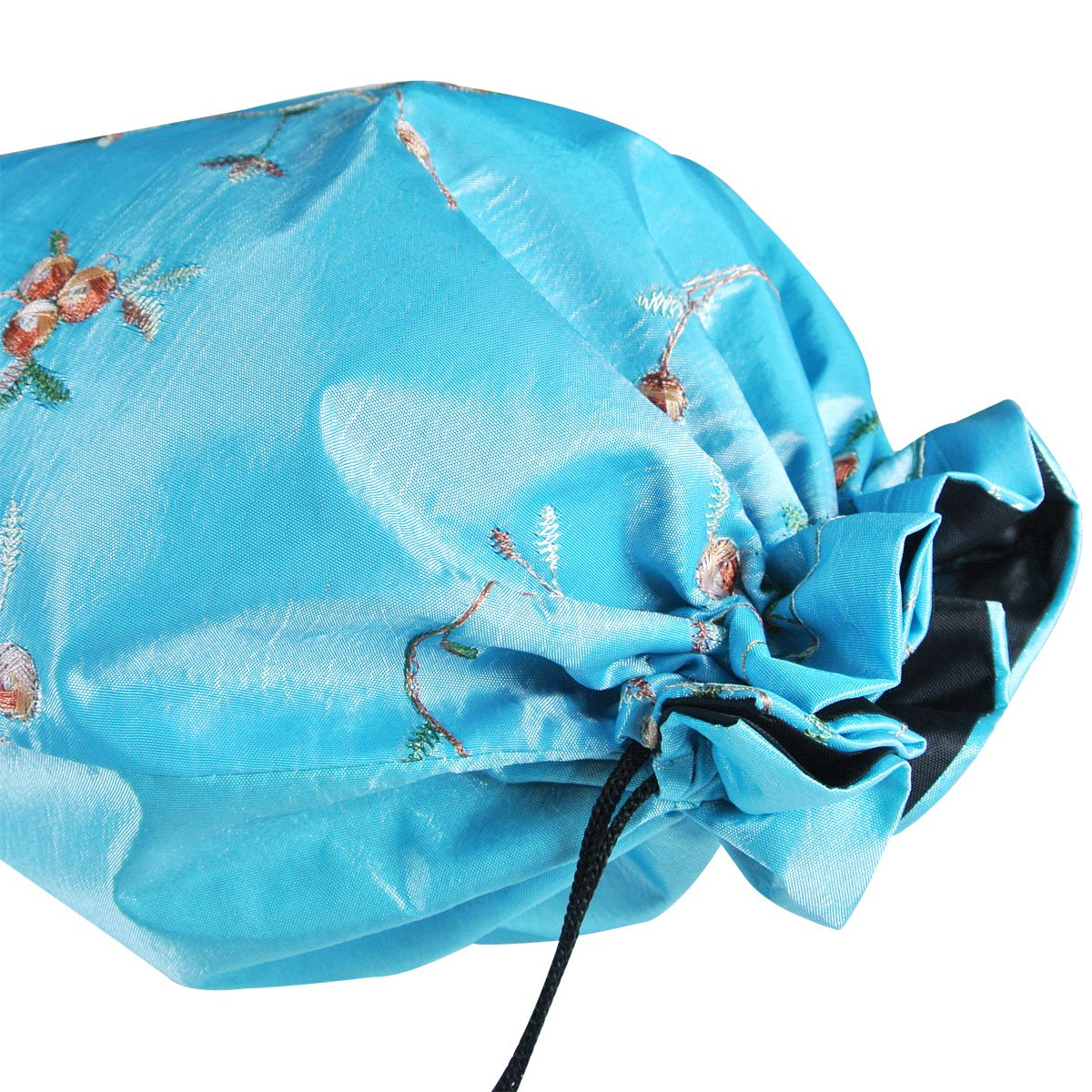 Wrapables Beautiful Embroidered Silk Travel Bag for Lingerie and Shoes, Sky Blue by Wrapables (Image #2)
