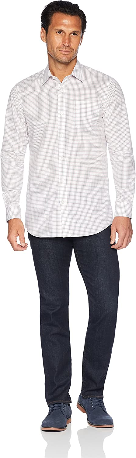 Essentials Men's Slim-Fit Wrinkle-Resistant Long-Sleeve Dress Shirt: Clothing
