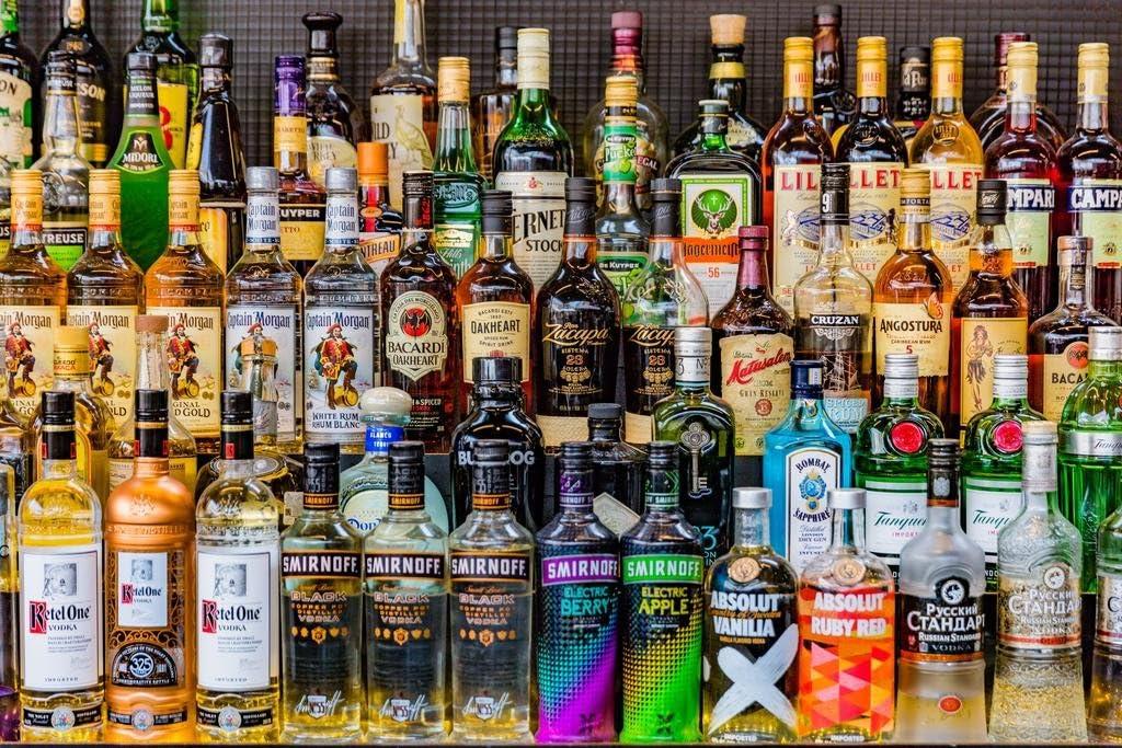 Full Bar Vodka Rum Gin Bourbon Alcohol Liquors Drinks Bottles Photo Cubicle Locker Mini Art Poster 12x8