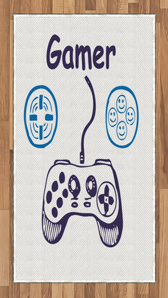 Lunarable Gamer Area Rug, Sketch of Videogame Controller with D-Pad and Smiling Buttons Design, Flat Woven Accent Rug for Living Room Bedroom Dining Room, 2.6 x 5 FT, Azure Blue Purple White