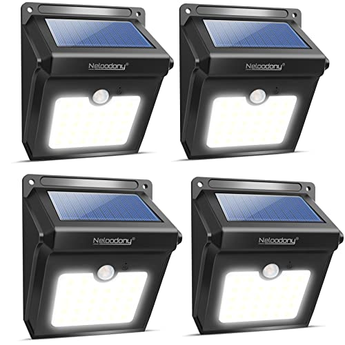 Solar Lights, Neloodony Solar Motion Sensor Security Lights 28 LED Waterproof Solar Powered Light Outdoor Lights for Garden, Fence, Patio, Yard, Walkway, Driveway, Stairs, Outside Wall etc. (4Pack)
