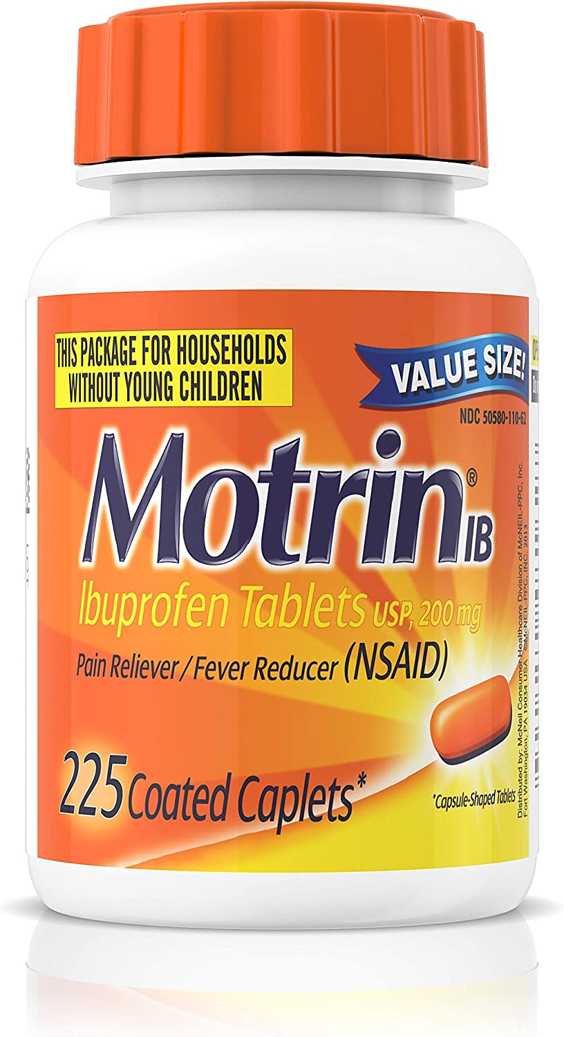 Motrin IB, Ibuprofen 200mg Tablets for Fever, Muscle Aches, Headache & Back Pain Relief, 225 ct.: Health & Personal Care