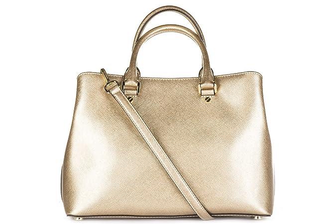 6043677b06 Michael Kors borsa donna a mano shopping in pelle nuova savannah oro:  Amazon.it: Scarpe e borse