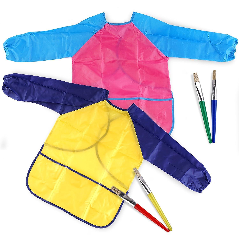 Lot de 2 Tabliers de Peinture colorés Blouse - Manches Longues - Comprend 4 pinceaux de Couleurs différentes - Idéal pour Les Enfants de Plus de 3 Ans - Protection Parfaite Contre Le désordre pour Enfants THE TWIDDLERS