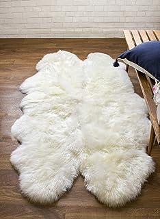 Captivating Genuine Australian Sheepskin Rug Four Pelt Ivory Fur, Quarto